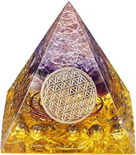 rockcloud Healing Crystal Orgone Pyramid with Flower of Life Symbol Energy Generator for EMF Protection Mediation Home Off...