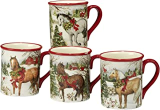 Certified International 22803SET4 Christmas on The Farm 18 oz. Mug, Set of 4 Assorted Designs, One Size, Multicolor
