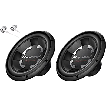 2 X Pioneer TS-300D4 12 Inch 1400 Watts Max Power Dual 4-Ohm Voice Coil Car Audio Stereo Subwoofer Loudspeakers/Free Alphasonik Earbuds