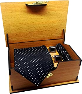 Luxeis Men Premium cotton silk Neck Tie and Pocket Square with Cufflink Combo Gift Set in Premium Wooden Box(Black, Free S...