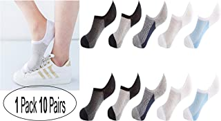 Mens Socks, Short Invisible Ankle Socks,10 Pairs Summer Mesh Ultra Thin Cotton, Stripe Non-slip Silicone Socks,