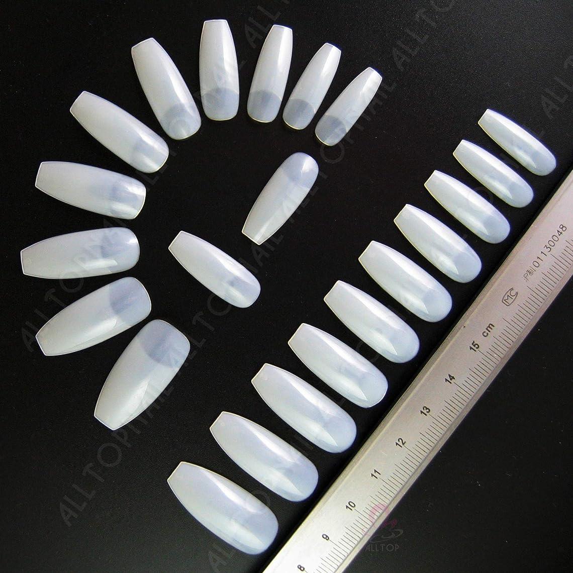官僚キャンドル思いつく棺形状偽ネイルのバレリーナ偽ネイルのヒント人工偽爪 100 ピース(ベージュ)
