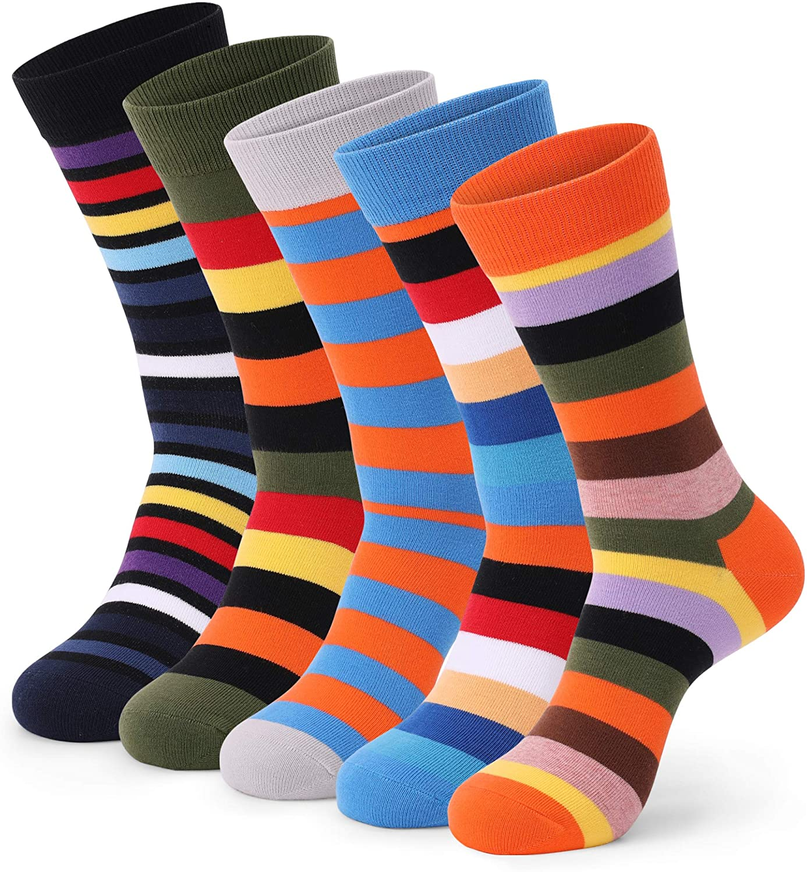 Mens Dress Socks 5 Pack Colorful Socks for Men Cotton Fashion Crew Casual Socks