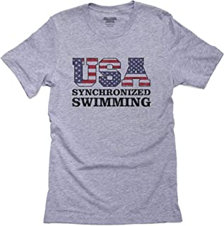 Hollywood Thread USA Synchronized Swimming - Olympic Games - Rio - Flag Men's T-Shirt