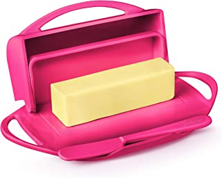 Butterie Flip-Top Butter Dish with Matching Spreader (Pink)