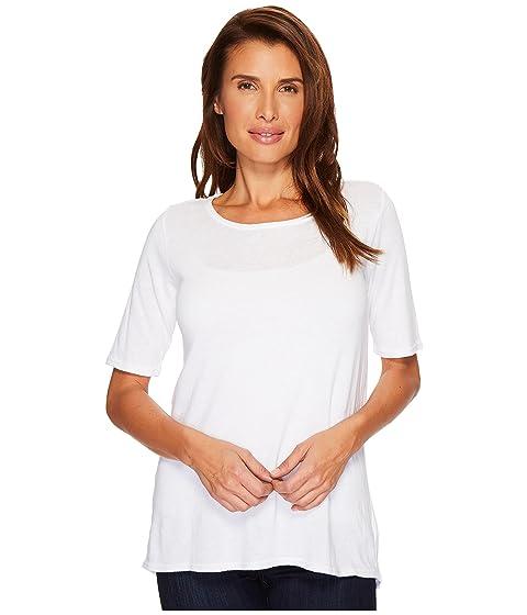 ALLEN ALLEN Sweater 1/2 Sleeve High-Low Tee, White