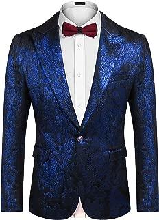 COOFANDY Mens Floral Tuxedo Suit Slim Fit One Button Blazer Luxury Dinner Jacket