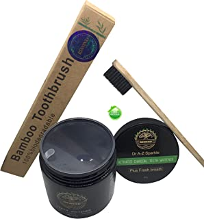 Activated Charcoal Teeth Whitening Powder Bundle With FREE Eco Friendly Bamboo TOOTHBRUSH Kit Active Fresh Mint Breath Stops Bad Breath Removes Stains Blk Wow Sparkle