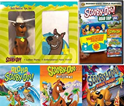 Bathtime Scooby-Doo Road Trip Cartoon DVD pack & Aloha Scooby / Goes Hollywood / Stage Fright Mystery Solving Gang + Bath Buddy Character & Wash Towel Movie Set