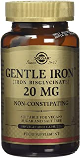 Solgar Gentle Iron 25 mg, 180 Vegetable Capsules - Ideal for Sensitive Stomachs - Non-Constipating - Red Blood Cell Supple...