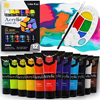 Lasten Acrylic Painting Set with Palette and Brush, 12 Colors Acrylic Paint Craft Paints for Artist, Beginners, Kids, Stud...