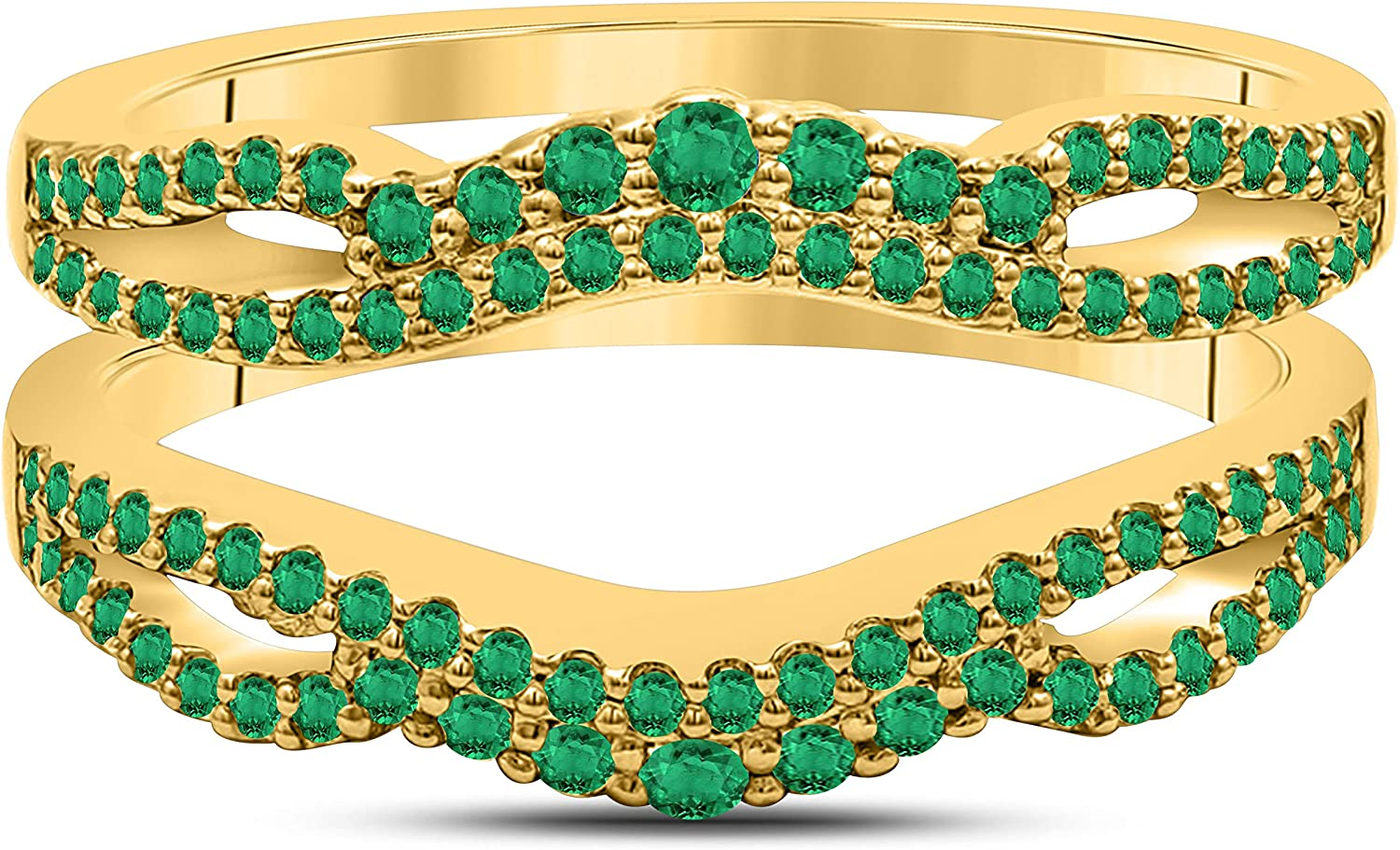 DS Jewels Women's 0.75 CT Free Shipping Cheap Bargain Gift Created Green-Emerald 14K Free shipping on posting reviews Round P Gold