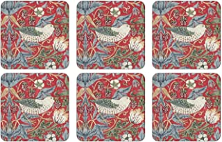 Pimpernel Strawberry Thief Red Coasters - Set of 6