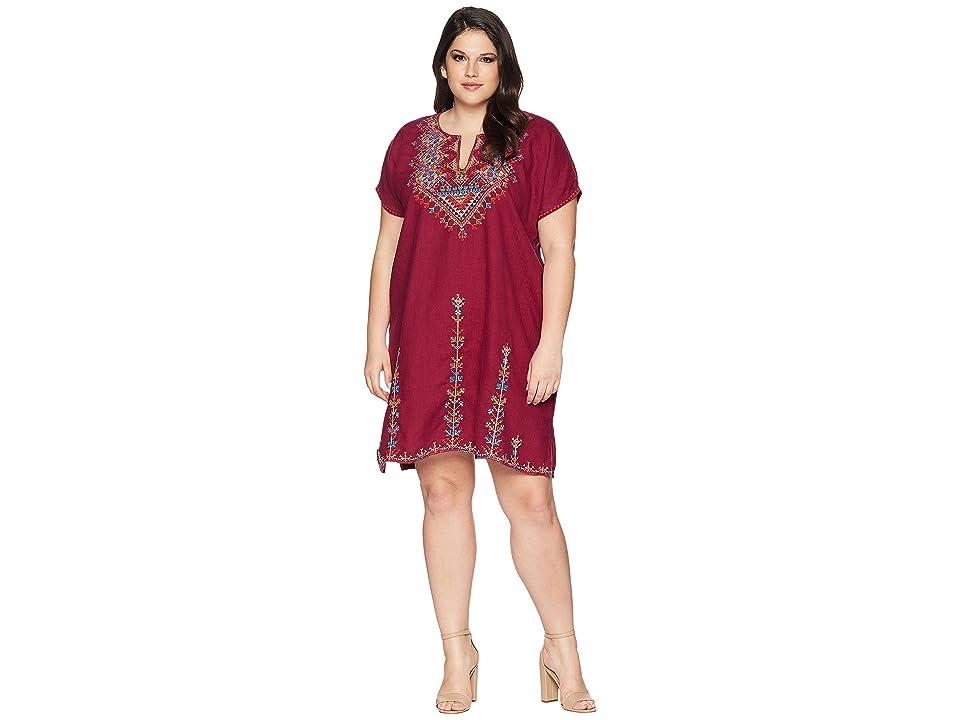 Johnny Was Plus Size Velsia Easy Tunic Dress (Grape) Women