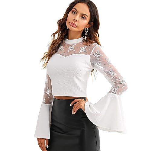 e3b88ec3a7 WDIRA Women s Summer Floral Contrast Lace Sheer Shirt Ruffle Mesh Crop Top  Blouse