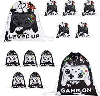 Watercolor Video Game Party Supplies – 12 Pack 10'' x 12'' Drawstring Bags Video Game Party Gift Bags Favor Sets for Boys ...