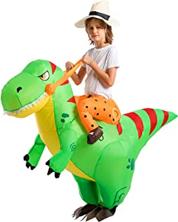 Spooktacular Creations Inflatable Costume Dinosaur Riding a T-Rex Air Blow-up Deluxe Halloween Costume - Child/Adult