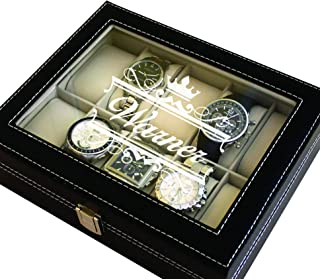 Custom Engraved Watch Storage Case Box - Groomsmen Father`s Day Gift - Personalized - Crown Style