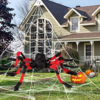 """Halloween Spider Web Decorations 16ft Huge Triangular Spider Web with 50"""" Gaint Hairy Spider and Super Stretch Cobweb for ..."""