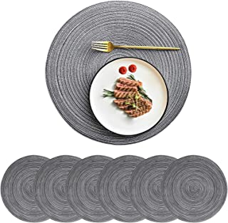 CY SISTERS 15Inch Rustic Round Placemats Boho Braided Placemats for Dining Table Mats Black Kitchen Cloth Placemats Woven ...