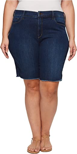 NYDJ Plus Size - Plus Size Briella Shorts w/ Fray Hem in Cooper