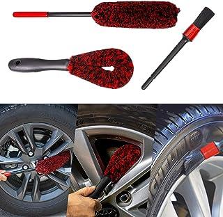 bzczh کیت برس Woolie چرخ چرخ اتومبیل - 1x برس بزرگ چرخ Woolies   1x قلم مو تمیزکننده دسته کوتاه   یک برس جزئی ، ابزار برس تمیز کننده پشم مصنوعی برای شستشوی لبه لاستیک اتومبیل