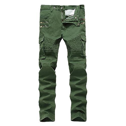 c423ce3d0f3 Qazel Vorrlon Men s Biker Moto Distressed Destroyed Fashion Skinny Fit Jeans
