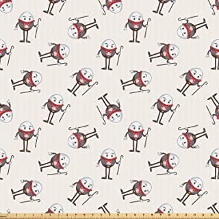 Lunarable Alice in Wonderland Fabric by The Yard, Humpty Dumpty Egg Dancing Character in Fairytale Fantasy Story, Microfiber Fabric for Arts and Crafts Textiles & Decor, Pink Brown Red