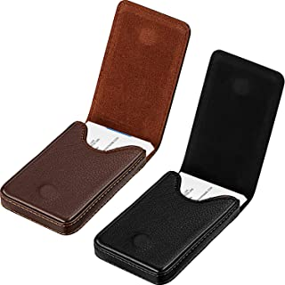 2 Pieces Business Card Holder, Business Card Wallet PU Leather Business Card Case Pocket Business Name Card Holder with Magnetic Shut Credit Card ID Case/Wallet, Black and Coffee(Black and Coffee)