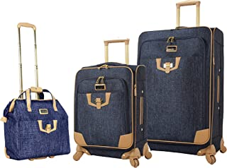 Nicole Miller 3 Piece Softside Luggage - Expandable Lightweight Suitcase Set Includes 15 Inch Under Seat Bag, 20 Inch Carr...