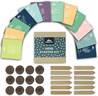 Urban Leaf - Indoor Herb Garden Starter Kit - Soil Starter Discs, 12 Compact Herb Seed Varieties, Bamboo Labels and Detailed Instructions - DIY Kitchen Grow Kit for Growing Herb Seeds Indoors