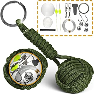 Paracord Keychain Lanyard Tactical Bushcraft Survival Gear #1 Best Flint Fire Starter for Bug Out Bag