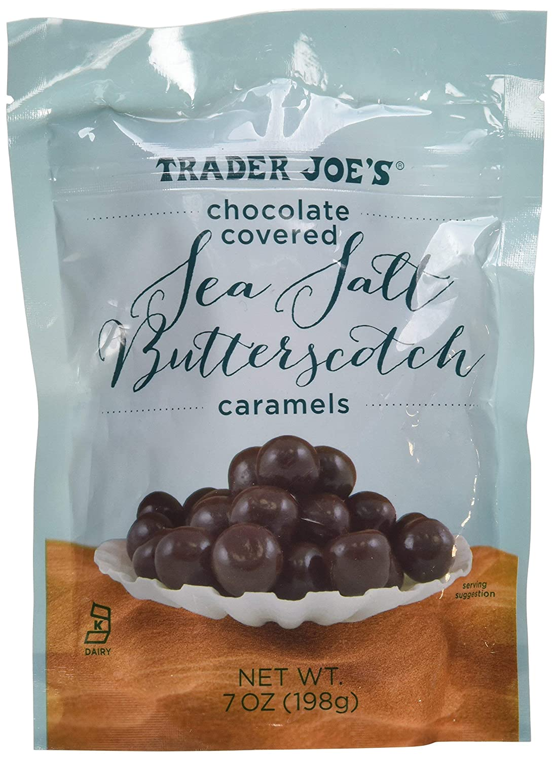 Trader Joe's Chocolate Covered Sea 4 years warranty Sales for sale Butterscotch 7o Caramels Salt