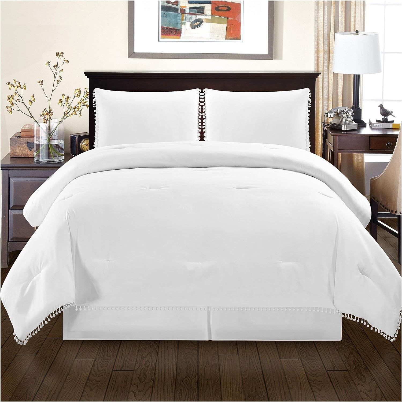 Superior Pom Gina Comforter Set with Pillow Shams, Luxury Pom-Pom Bedding with Soft Microfiber Shell, All Season Down Alternative Fill - King California King, White