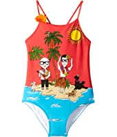 Dolce & Gabbana Kids - D&G Tropical One-Piece Swimsuit (Big Kids)