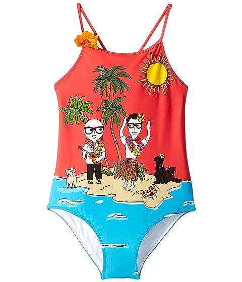 Dolce & Gabbana Kids D&G Tropical One-Piece Swimsuit (Big Kids)