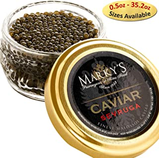 Marky's Sevruga Premium Sturgeon Black Caviar - 1.75 Oz Malossol Sturgeon Black Roe – Crystal Gift Jar - GUARANTEED OVERNIGHT