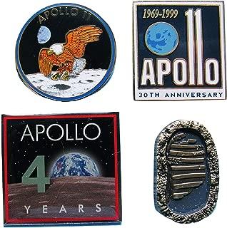 Apollo 11 Pin 50th Anniversary flown metal footprint boot NASA bundle of 4 official
