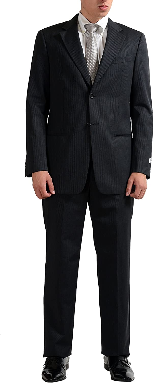Armani Collezioni Men's Wool Silk Striped Gray Two Button Suit US 40R IT 50R