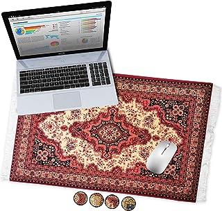 Oriental Rug Desk Pad XL Rug Mousepad Office Desk Pad Persian Rug Mouse Pad Deskpad Deskmat (Vintage Red)