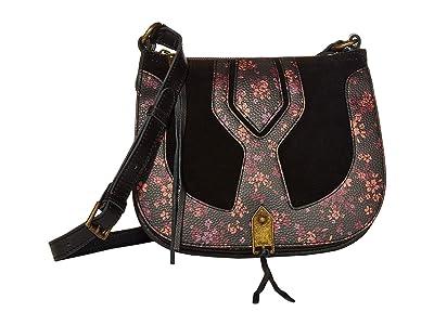The Sak Playa Leather Saddle Bag (Black Folk Floral) Handbags