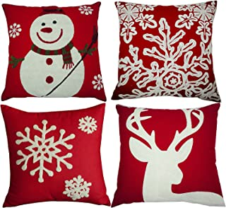 BLUETTEK Red Embroidery Christmas Pillow Covers Set of 4, Snowman,Christmas Deer, Snowflake, Merry Christmas Decorative Throw Pillow Case Cushion Covers 18 X 18 Inch for Bed Sofa