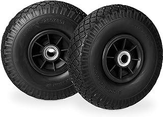 Relaxdays 2 x steekwagenwiel, lekbestendige massief rubberen banden, 3,00-4 inch, 20 mm as, tot 80 kg, 260 x 85 mm, zwart