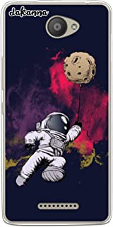 dakanna Funda para BQ Aquaris U - U Lite | Astronauta y Luna | Carcasa de Gel Silicona Flexible Transparente