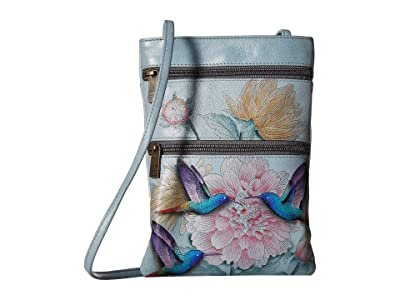 Anuschka Handbags Mini Double Zip Travel Crossbody 448 (Rainbow Birds) Cross Body Handbags