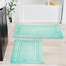 FRESHMINT Bath Mat Set of 2, Large Size 34 by 21 Plus 24 x 17, Bathroom Rugs Fleece Flannel Thick Memory Foam Padded, Supe...