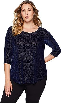 Plus Size 3/4 Sleeve Velvet Burnout Top