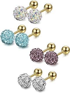 4 Pairs Stainless Steel Tragus Earrings Crystal Cartilage Earring Set for Men Women 4-7mm