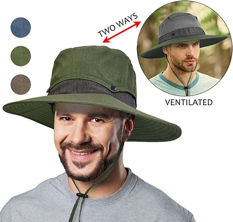 Unisex Breathable Boonie with Removable Crown UV Sun Protection Hat for Fishing Hiking Golfing Hunting Safari Travel Beach