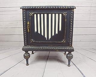 Mueble Bar Pequeño Pieza Única Artesanal Estilo Vintage Art Deco años 30 Elegante y Sofisticado, Azul y Blanco con imitaci...
